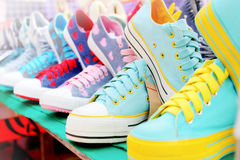 Sport shoes. Colorful sport shoes on sale market Royalty Free Stock Photo