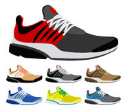 Sport shoes. Colourful vector sneakers on a white background Royalty Free Stock Photo