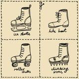 Sport shoes doodle set. Hand drawn images set on sport theme Stock Photos
