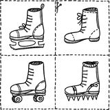 Sport shoes doodle set Royalty Free Stock Images