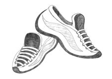 Sport shoes drawing Stock Photography