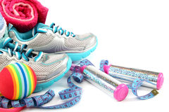 Sport shoes, equipment and measuring tape. Royalty Free Stock Images