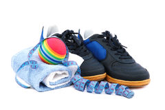 Sport shoes, equipment and measuring tape. Stock Photo