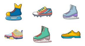 Sport shoes icon set, cartoon style. Sport shoes icon set. Cartoon set of sport shoes vector icons for web design isolated on white background Royalty Free Stock Photography