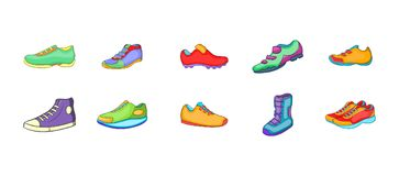 Sport shoes icon set, cartoon style. Sport shoes icon set. Cartoon set of sport shoes vector icons for your web design isolated on white background Royalty Free Stock Images