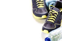 Sport shoes, measuring type and water Royalty Free Stock Photo
