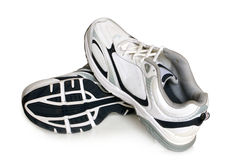 Sport shoes pair. On a white background royalty free stock photography
