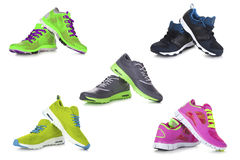Sport shoes set. Five different sport shoes on white background Stock Image