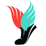 Sport shoes sign with wings Stock Photo