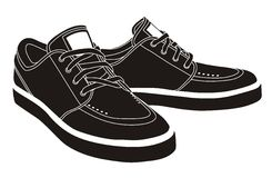 Sport shoes, sneakers. Black isolated sport shoes, sneakers Stock Image
