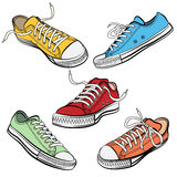 Sport shoes or sneakers icons in different views Stock Images