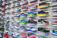 Sport shoes store Stock Photos