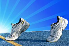 Sport shoes tartan. Runners on blue tartan surface waiting for a start Royalty Free Stock Image
