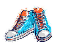 Sport shoes in watercolor style. Isolated elements. Royalty Free Stock Photo