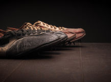 Sport shoes on wood Royalty Free Stock Photography