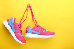 Sport shoes. On yellow background Royalty Free Stock Images