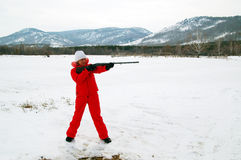 Sport shooting. A woman with the gun Royalty Free Stock Photography