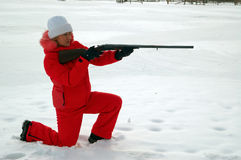 Sport shooting. A woman with the gun Stock Image