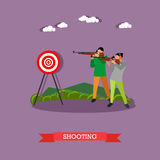 Sport shooting range banner. Competition games vector illustration. Royalty Free Stock Image