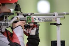 Sport shooting. Rio de Janeiro-Brazil, Event sport shooting test for the Olympic Games stock photo