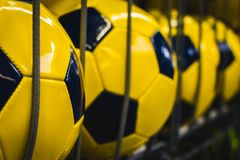 Rhythmic pattern background of new yellow footballs. leisure ti. Sport shop, group of new yellow footballs royalty free stock photography