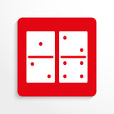 Sport signs. Dominoes. Vector icon. Red and white image on a light background with a shadow. royalty free illustration