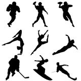 Sport silhouette. Various woman and man sport silhouettes Royalty Free Stock Image