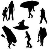 Sport silhouettes. Black silhouettes of active people Stock Photo