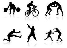 Sport silhouettes. Whit shadow Royalty Free Illustration