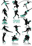 Sport silhouettes. Two-tone  silhouettes of people doing sport, part of a new collection of subjects Royalty Free Stock Image