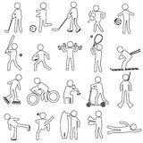Sport silhouettes black simple outline icons set Stock Images