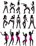 Sport silhouettes of women Royalty Free Stock Photos