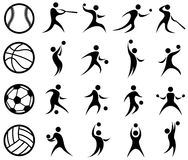 Sport silhouettiert, Basketball, Baseball, Fußball, Volleyball Lizenzfreies Stockfoto