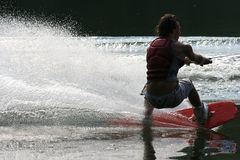 Sport Silouhette. Silouhette of teenage boy wakeboarding royalty free stock images