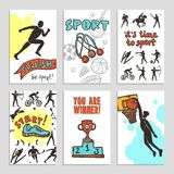 Sport Sketch Cards Royalty Free Stock Photography