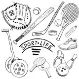 Sport sketch doodles elements. Hand drawn set with baseball bat and glove, bowlong, hokkey tennis items, Drawing doodle col Stock Image