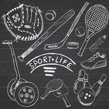 Sport sketch doodles elements. Hand drawn set with baseball bat and glove, segway bowlong, hokkey tennis items, Drawing doodle col Royalty Free Stock Photo