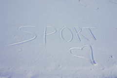 Sport in the snow written Stock Image