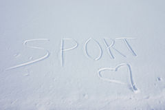Sport in the snow written Royalty Free Stock Photos