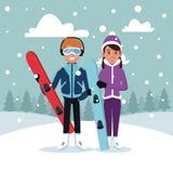 Sport snowboard couple cartoon. Icon vector illustration graphic design Royalty Free Stock Photo