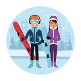 Sport snowboard couple cartoon. Icon vector illustration graphic design Royalty Free Stock Image
