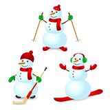 Sport snowman set Royalty Free Stock Photo