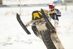 Sport snowmobile jump Stock Image