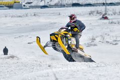 Sport snowmobile jump Royalty Free Stock Image