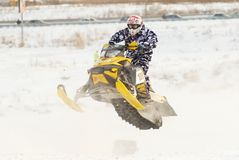 Sport snowmobile jump Stock Photography