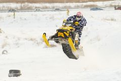 Sport snowmobile jump Royalty Free Stock Photography