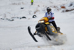 Sport snowmobile race on track Royalty Free Stock Photos