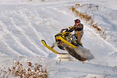 Sport snowmobile racing Stock Photos