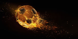 Soccer ball isolated on black background. stock image