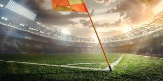 Sport. Soccer ball on stadium. Royalty Free Stock Photography